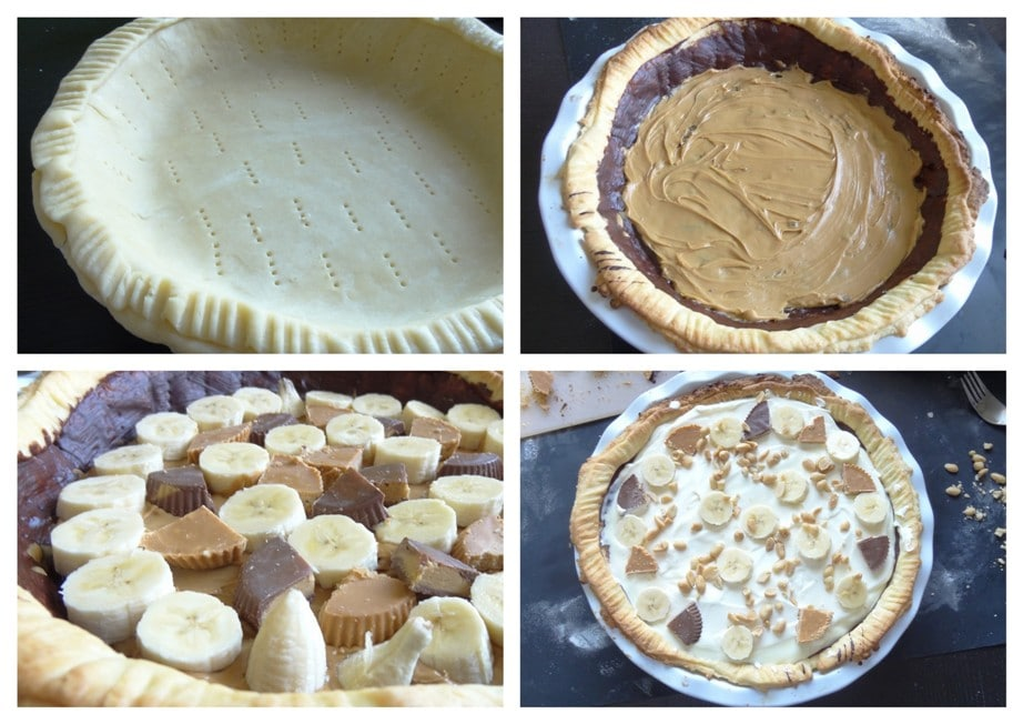 Banana & Peanutbutter Cup Cream Pie mit Hot Fudge Sauce {www.dasweissevomei.com}